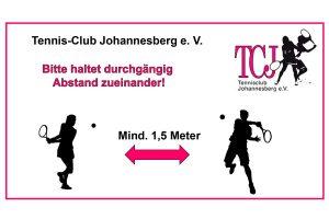 Poster Abstand einhalten beim Tennisclub Johannesberg während Corona