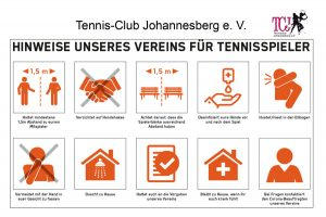 Hinweise über Auflagen für das Tennisspielen während Corona
